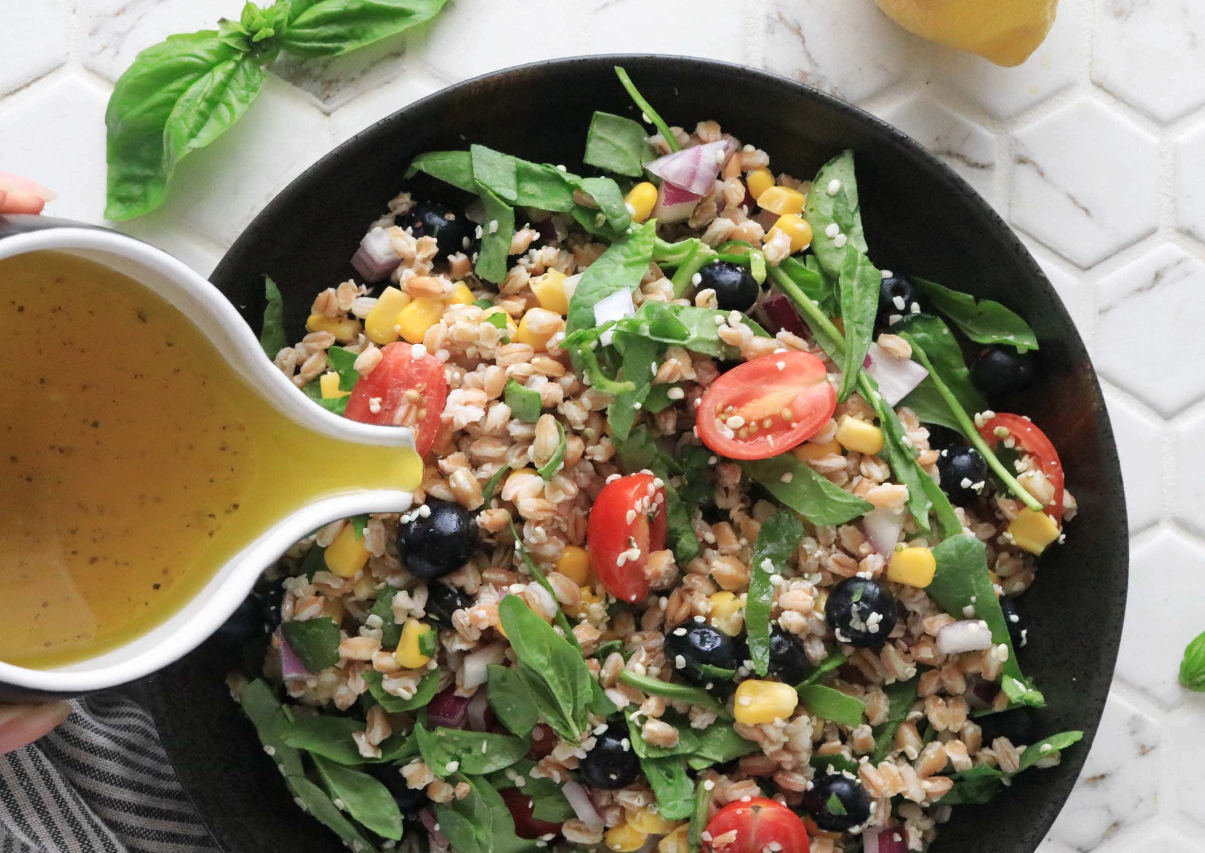Summer time Farro Salad with Lemon French dressing